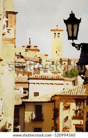 Watercolor painting of streets of Toledo, Spain