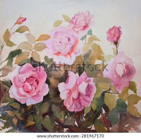 Watercolor painting of the beautiful roses in the garden. - stock photo