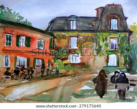 Watercolor painting of the Montmartre, in Paris city, France. - stock photo