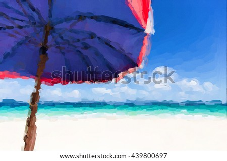 Watercolor painting of View at the bright beach