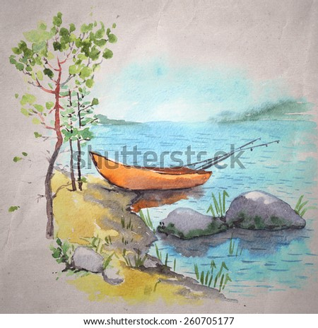 Watercolor painting on a craft paper background. A bank of a lake or a river with a fisherman boat with fishing roods in it, stones and pines.