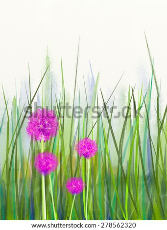 Watercolor painting pink chive flower over green leaf background .Spring floral seasonal nature background