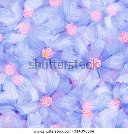 Watercolor painting seamless floral nature background pattern with blue flowers and pink for fabric and paper