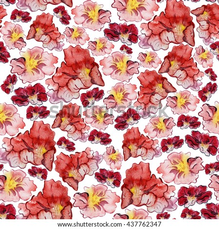 Watercolor painting. Seamless pattern.   Can be used for textiles, clothing, household items, wallpaper, tableware, decor and other ways.
