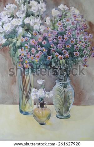 Oil Painting Still Life Bouquet Biege Stock Illustration ...
