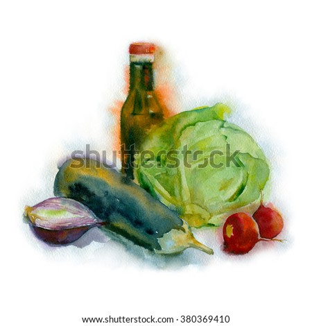 Watercolor painting. Still life with cabbage, onions, eggplant and bottle on white background.