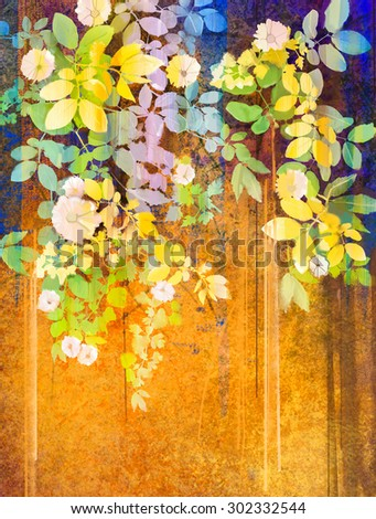 Watercolor painting white flowers and soft green leaves. Yellow-brown color texture on grunge paper background. Soft color paint flower style and blur background for your design - stock photo