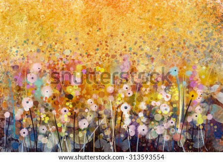 Watercolor painting white flowers and soft green leaves. Yellow-brown color texture on grunge paper background. Vintage painting flowers style in soft color and blur background for your design - stock photo