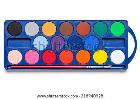 Watercolor paints box with paint brush on white background. Top view - stock photo