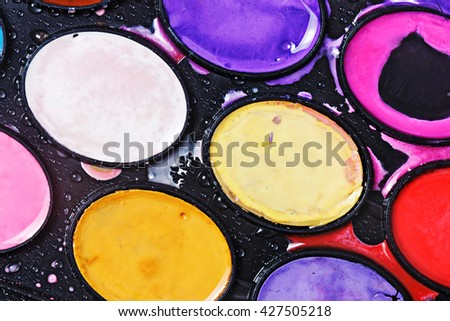 Watercolor paints in a box. The concept of creativity. Art Supplies. Watercolor painting. - stock photo