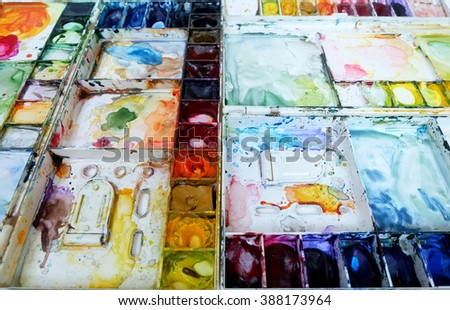 Watercolor palette set colorful background - stock photo