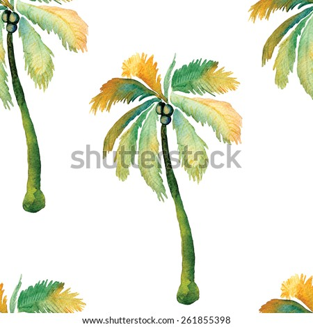 Watercolor palm seamless pattern with palm trees and coconuts.