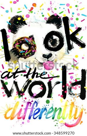 watercolor Panda bear. Text Look at the world. watercolor Panda bear T-shirt lettering design. watercolor illustration inscription. watercolor letter background. rainbow watercolor background  - stock photo