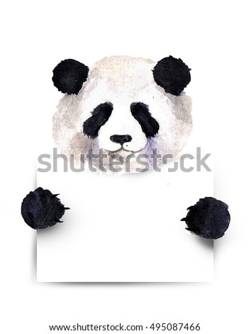 Watercolor panda placardcute panda above white stock illustration watercolor panda with placardte panda above white banner template for gift certificate yadclub Images