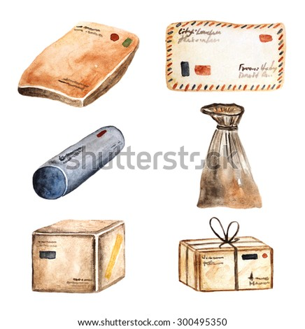 Watercolor parcels collection, icon, banner including box. letter, bag, tube  - stock photo