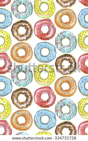 Watercolor pattern of colorful donuts on a white background - stock photo
