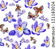 watercolor pattern of  European Peacock butterfly and flowers - stock photo