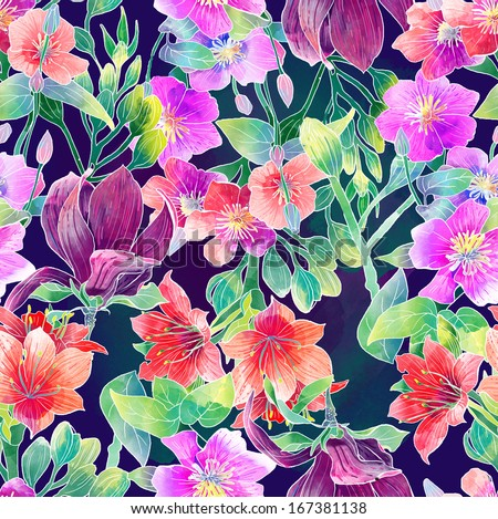 watercolor pattern of exotic flowers - stock photo
