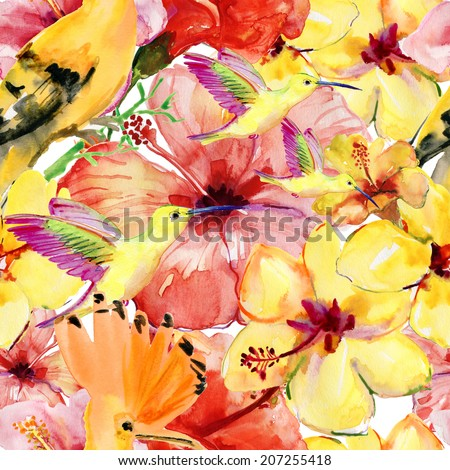 watercolor pattern of exotic flowers and birds. - stock photo