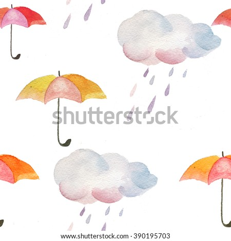 watercolor pattern of umbrella and rainy clouds