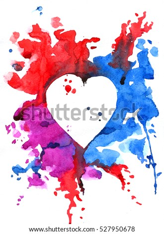 Watercolor pattern of varicolored heart