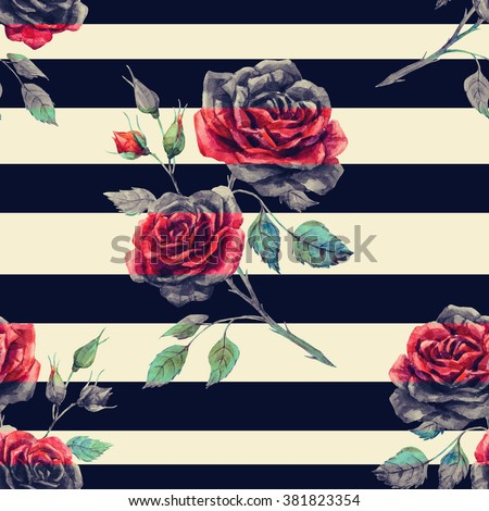 watercolor pattern rose red, striped seamless black pattern, vintage - stock photo