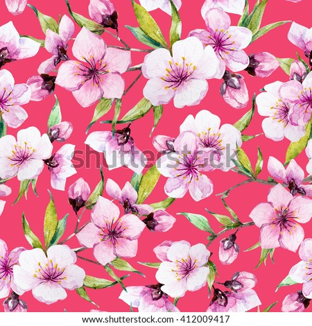 watercolor pattern spring, cherry blossoms, blossoming peach, delicate pink flowers, cherry tree, pink background