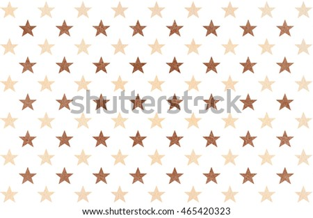 Watercolor pattern with beige and brown stars on white background.