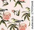 Watercolor pattern with birds and peonies - stock photo