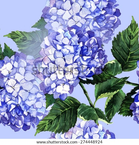 Watercolor pattern with blue hydrangea. Hand painting. Seamless pattern for fabric, paper and other printing and web projects. - stock photo