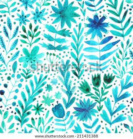 Watercolor pattern with flowers and plants. Floral background. Original handmade floral seamless background - stock photo