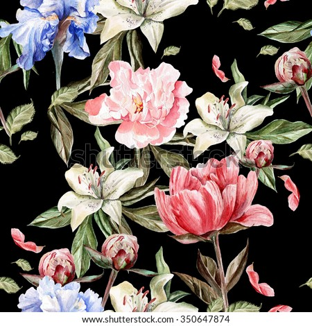 Watercolor pattern with flowers  iris, peonies and lilies, buds and petals. Illustration - stock photo