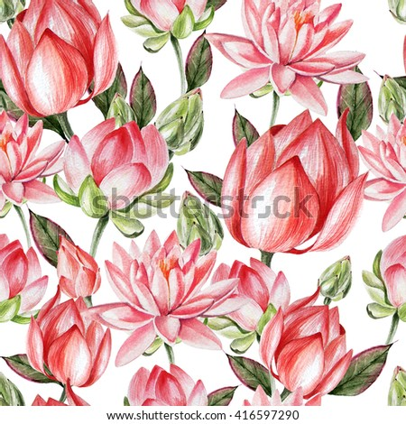 Watercolor pattern with lotus. Illustration - stock photo