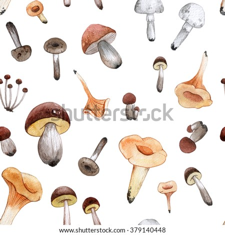 Watercolor pattern with mushrooms. Hand drawn illustration