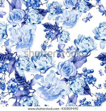 Watercolor pattern with peony flowers, roses and berries. Illustration. - stock photo