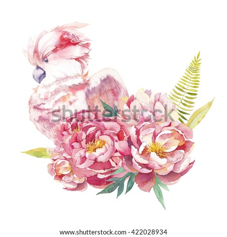 Watercolor peony bouquet with pink parrot. Composition with hand painted flowers, fern, green leaves and pink cockatoo isolated on white background. Summer artistic design - stock photo