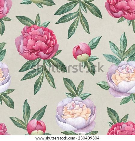 Watercolor peony flowers. Seamless pattern  - stock photo