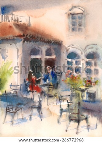 Watercolor People Couple Sitting At The Cafe Love Romance Hand Painted Illustration - stock photo