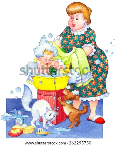 Watercolor picture in funny retro style isolated on white. Cute domestic life in home bathroom. Smile mom wash with soap small joyful offspring in plastic bowl. Pets play with water sud foam and toy - stock photo