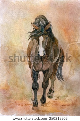 Watercolor picture of beautiful Chestnut horse. - stock photo