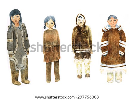 Watercolor Picture Of Four Inuit In Traditional Costumes - stock photo