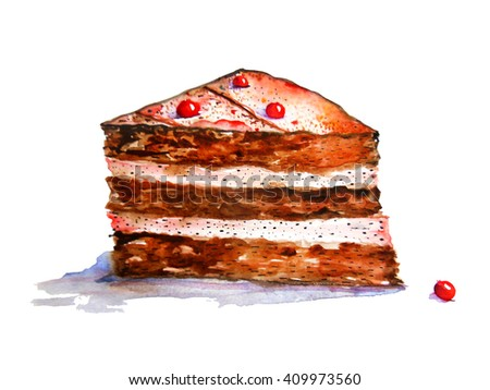Watercolor piece of cake with cream and berries, isolated on white background - stock photo