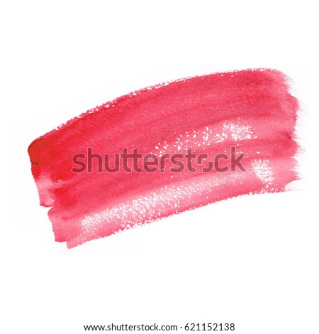 watercolor pink banner stain on white background