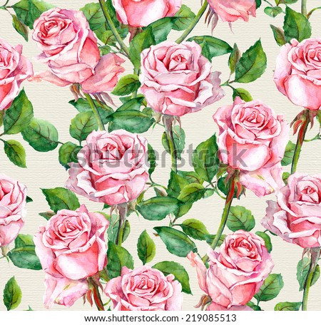 Watercolor pink rose flowers repeated pattern