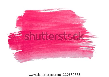 Watercolor pink smear isolated on white background