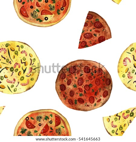 watercolor pizza isolated on white background, seamless pattern