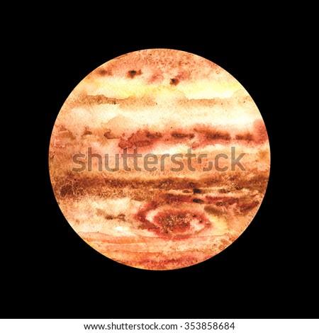 Watercolor Planet Jupiter - stock photo