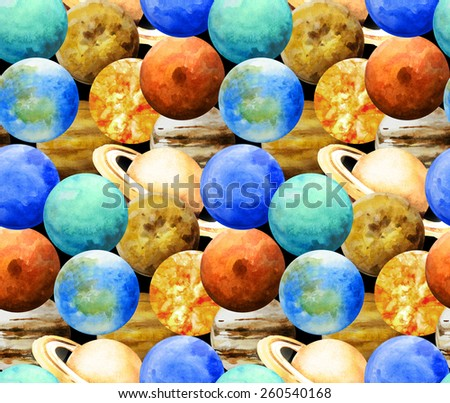 Watercolor planets. Sun, Mercury, Venus, Earth, Mars, Jupiter,Saturn, Uranium, Neptune. Seamless pattern - stock photo