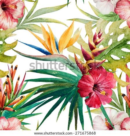 watercolor, plant, leaves, orchid, flower, Strelitzia, wallpaper,  - stock photo