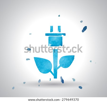 watercolor Plug Power Consumption - stock photo